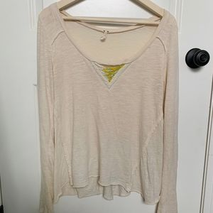 Free People Beaded V-Neck Henley Tee